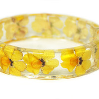 Real Flower Bracelet- Flower Jewelry- Yellow Bracelet-Yellow Jewelry -Resin Jewelry Dried Flowers- Resin Bangle
