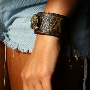 Up Cycled Louis Vuitton Arm Cuff - Amber Crystal