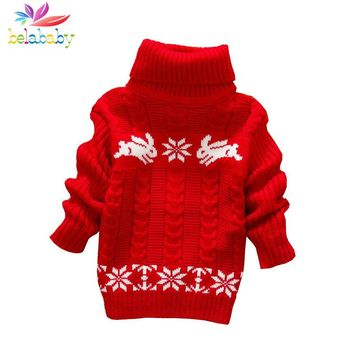 Belababy Girls Sweater Rabbit Easter Autumn 2017 New Baby Girl Sweater Baby Long Sleeve Turtleneck Winter Sweaters For Girls