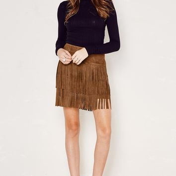 Brown Mojave Faux Suede Fringe Skirt