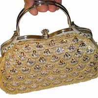 A Beautiful Glimmer Khaki Evening Bag, Tiny Beaded and Sequined As Small Scallop Shaped. Rhinestone...