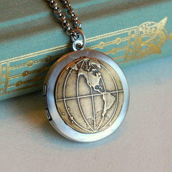 Globe Locket Necklace, silver gold brass vintage old world map travel photo pendant Birthday Mother's Day Graduation Gift