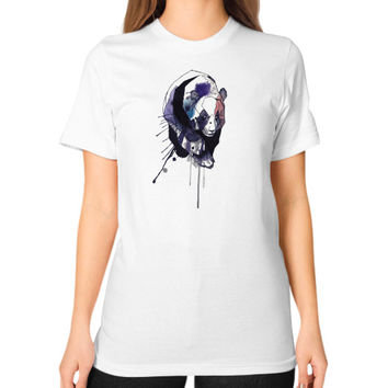 Watercolor Panda Unisex T-Shirt (on woman)