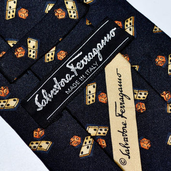 Make an Offer SALVATORE FERRAGAMO Dominos & Dice Pattern Black SILK Necktie Tie Like Hermes YsL Dior and Gucci Made in Italy