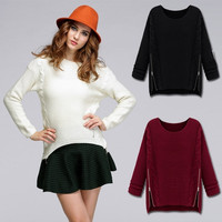 Womens Crew Neck Loose Knitted Jumper Sweater Casual Pullover Tops Outwear
