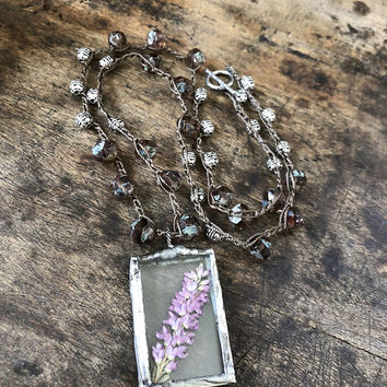 Terrarium Necklace Pressed Flower Jewelry Boho Necklace Lavender Soldered Pendant Floral Jewelry Dried Flower Necklace Two Silver Sisters
