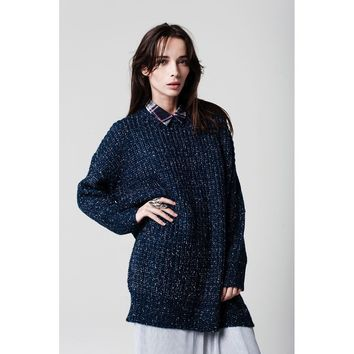 Blue Tall Chunky Knit Sweater
