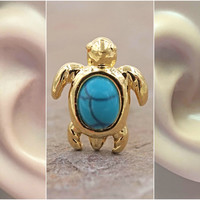Turquoise Turtle Gold Cartilage Tragus Earring