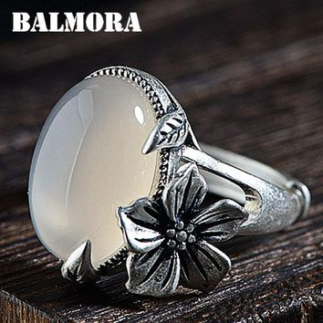 BALMORA 100% Real 990 Pure Silver Chalcedony Flower Open Rings for Women Mother Lover Gift Retro Fashion Jewelry Anillos MN20800