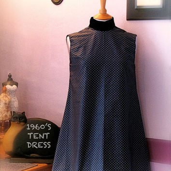 1960s Style Tent Dress/Sleeveless/High by RebeccaWFrockShop