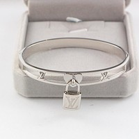 "Hot Sale ""Louis Vuitton"" LV Popular In The World New Lock Hollow Stainless Steel Bracelet Jewelry(3-Color) Silvery I-HLYS-SP"