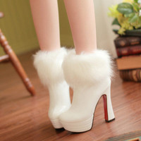 Handmade white faux fur trim Shiny leather ankle boots winter bare heels wedding shoes bridal shoes bridesmaid shoes dress shoes boots