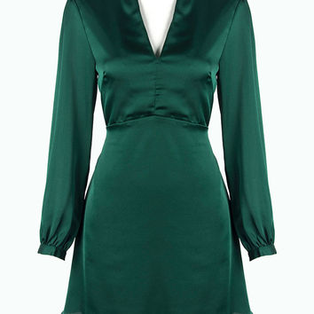 Green V-neck Long Sleeve Plain A-line Dress