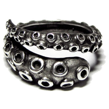 Octopus Tentacle Ring - Antique Sterling Silver -- Adjustable Ring, Thumb Ring, Mens Ring, Tentacle Jewelry, Octopus Jewelry