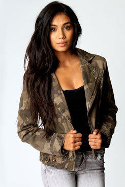 Milly Camouflage Cropped Jacket