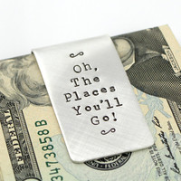 Oh, The Places You'll Go Sterling Silver Money Clip - Dr Suess Money Clip - Graduation 2013