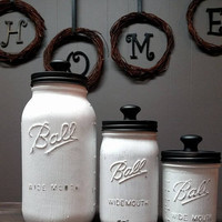 White and Black Mason Jar Kitchen Canister Set - Kitchen Canister Set - Country Canister Set - Farmhouse Kitchen - Farmhouse Country Decor