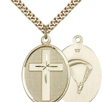 Men's 14K Gold Filled Cross Paratrooper Military Soldier Catholic Medal Necklace