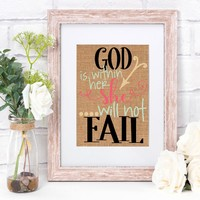 God Is Within Her She Will Not Fail Burlap Print
