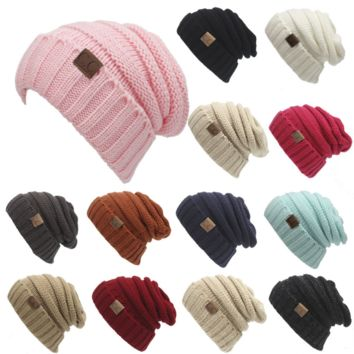 Winter knittedted Wool Cap Unisex Women Men Folds Casual CC Labeling Beanies Hat