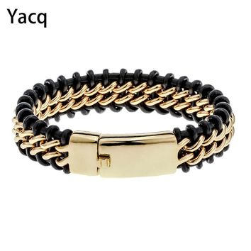 "Mens black leather stainless steel hiphop bracelet gold silver color jewelry birthday gifts for dad him boyfriend kids 8.5"" D052"
