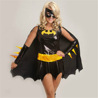 Women Batman Superhero Costume Cosplay  Sexy Faux Leather Adult Batgirl Halloween Carnival Clothes Party Costumes