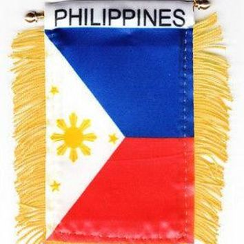 """Philippines Mini Banner Flag 3""""x5"""" with BRASS STAFF & SUCTION CUP Pinoy"""