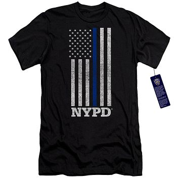 NYPD Slim Fit T-Shirt Thin Blue Line American Flag Black Tee