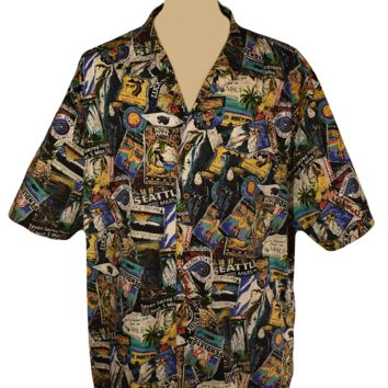 Men's Shirt, Short Sleeve Shirt, Button Down, Casual Shirt, Pendleton, Graffiti, Hawaiian