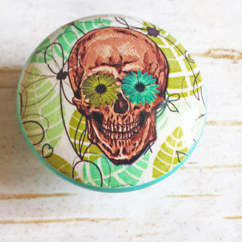 Sugar Skull Knob Drawer Pulls, Birch Wood, Green Leaves Cabinet Pull Handles, Skeleton, Day of the Dead, Made to Order