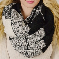 Amazing Checkered Block Large Chunky Infinity Scarf, Cowl