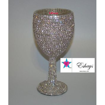 Clear Rhinestone Wedding Glasses Goblet Style Cup