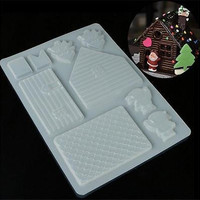 Christmas House Xmas Cake DIY Mold Baking Tools Chocolate Candy Cookies Decor