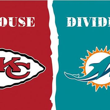 Kansas City Chiefs VS Miami Dolphins  flags  3ftx5ft Banner 100D Polyester Flag metal Grommets