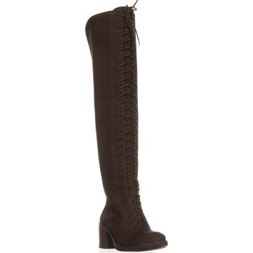 Lucky Brand Riddick Lace Up Over The Knee Boots, Java, 6 US / 36 EU