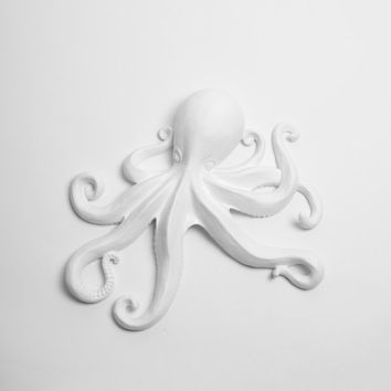 The Kraken Octopus Sculpture in White - Large White Faux Octopus - Wall Hanging Nautical Octopus Art - Cephalopod Art  Home Decorations