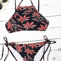 Cupshe Sheer By Nature Maple Leaves Bikini Set