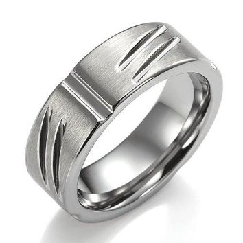 Engraved Texture Tungsten Ring for Men