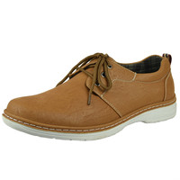 Mens Casual Shoes Two Tone Stitched Lace Up Derby Tan SZ