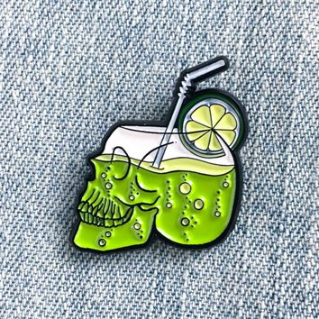 Skull Cocktail Enamel Pin