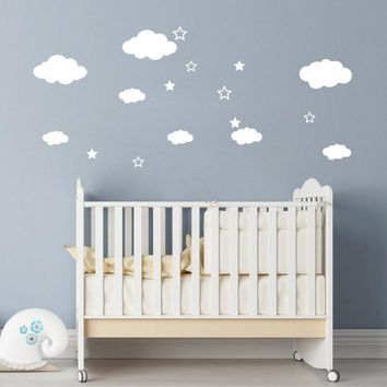 Decorative DIY Tiny Clouds and Stars Art Mural Vinyl Wall Decal for Childrens Room Nursery Decor