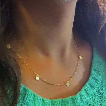 Cougar Town Necklace, Dangles, Tiny Circles Necklace in 14k gold fill, The Nance Botwin Necklace, disc chain