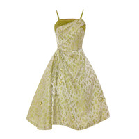 1950's Green Silk Brocade Dress
