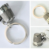 Sterling Silver Peter Pan Antique Thimble with Acorn Hidden Kisses Key Ring - Peter Pan and Wendy