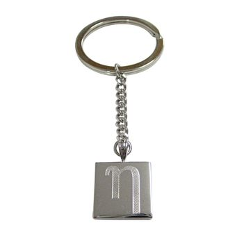 Silver Toned Etched Greek Letter Eta Pendant Keychain