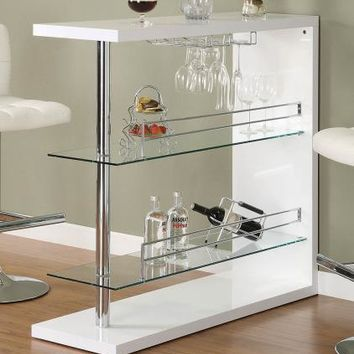 Coaster Furniture BAR UNITS: CONTEMPORARY 100167 BAR TABLE GLOSSY WHITE & CHROME