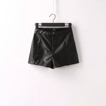 Women's Fashion Embroidery PU Leather Shorts [4919623428]