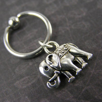 Little Silver Lucky Elephant Captive Bead Ring Cartilage Hoop CBR 14 16 Gauge Tragus Conch Helix Nipple Piercing