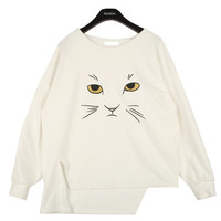 Cat's Face Print Dip Hem T-shirt | FashionShop【STYLENANDA】