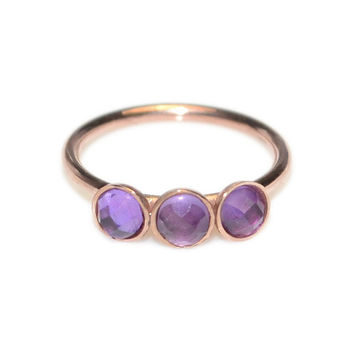 Solid Gold 2mm Amethyst Tragus Earring 18g / Nose Ring, Tragus Ring, Septum Ring / Cartilage Hoop, Daith Piercing, Rook Earring, Nose Hoop